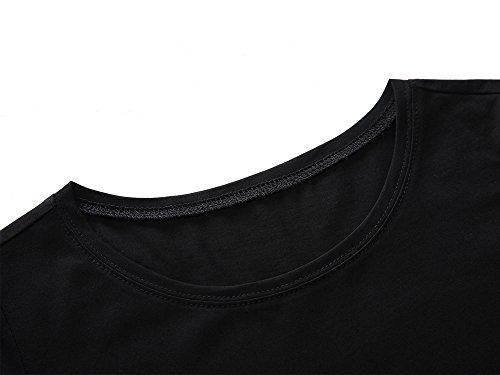 Women Short Sleeve Round Neck Summer Casual Flared Midi Dress X-Large Black
