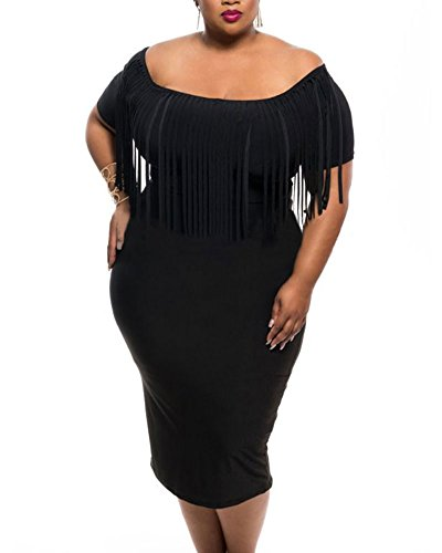 Lalagen43;Hot43; Women's Off Shoulder Tassel Plus Size Bodycon Dress, SizeXX-Large Plus, Black
