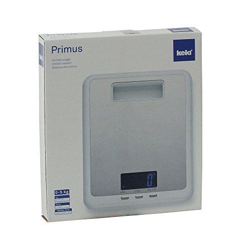 Kela 11546 balance de cuisine digitale, 17 x 22 cm, inox, blanc, 'Primus'