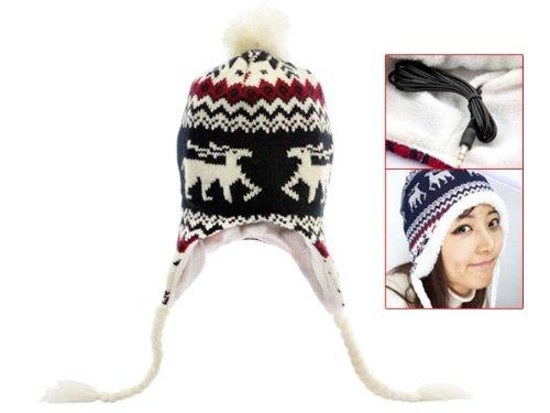 Women Lady Winter Earflap Beanie Cap Hat With Headphone Earphone 3.5Mm