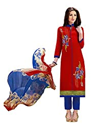 Women Icon Presents Red Embroidered Un-Stitched Dress Material WICKFMFAG51006