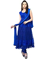Clickedia Women's Net & Brasson Blue Semi - Stitched Anarkali - Dress Material