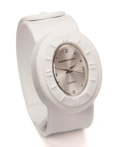 Addison Ross Unisex Quartz Watch with White Dial Analogue Display and White Silicone Strap WA0035