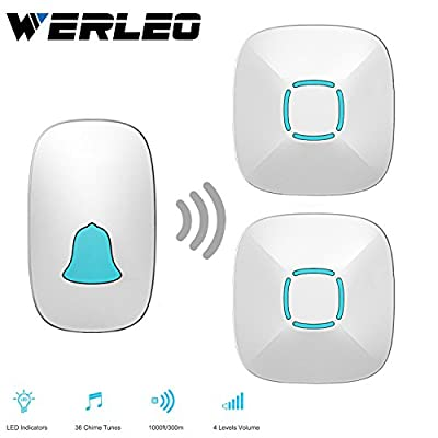 Ring Doorbell,Werleo Wireless Doorbell Kit 1 Remote Push Button with LED indicator and 2 Plugin Door Chime Operating 1000 Feet Range 36 Optional Music Chimes 4 Level Volume,No Batteries Required for the Receiver,white (1 Transmitter 2 Receiver)
