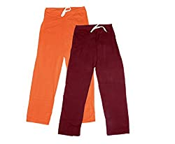 IndiWeaves Women Super Combo Pack 4 (Pack of 2 Lower/Track Pant and 2 T-Shirt)_Orange::Maroon::Purple::White_M