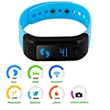 Excelvan All-in-One OLED Smart Healthy Bracelet IP67 Waterproof Bluetooth Pedometer Tracking Calorie Sleep Monitor Call Reminder Smart Wristband for Android IOS Cellphones (Blue Greenish)