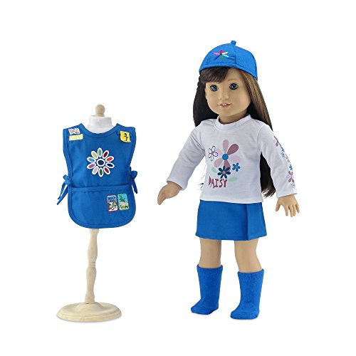 18-Inch-Doll-Clothes-Daisy-Girl-Scout-Inspired-Outfit-Includes-Blue-Skirt-LS-White-T-Shirt-with-Daisy-Print-Blue-Tunic-with-Embroidered-Patches-Matching-Hat-and-Socks-Fits-American-Girl-Dolls