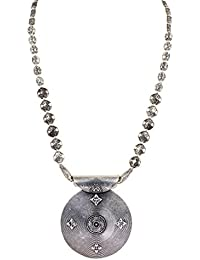 Sansar India Oxidized Round Pendant Designer Chain Necklace For Girls And Women