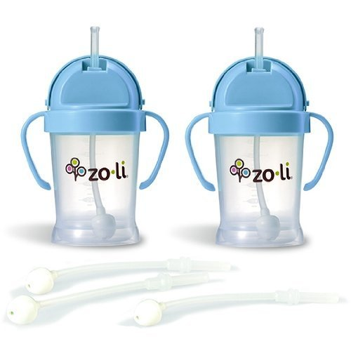 Zoli BOT Sippy Cups - Blue (2 Pack) WITH 3 BOT Replacement Straws.