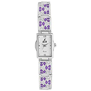 Jiffy Elegant White Dial With Silver & Purple Stainless Steel Strap Analog Casual Watch For Women,Girls