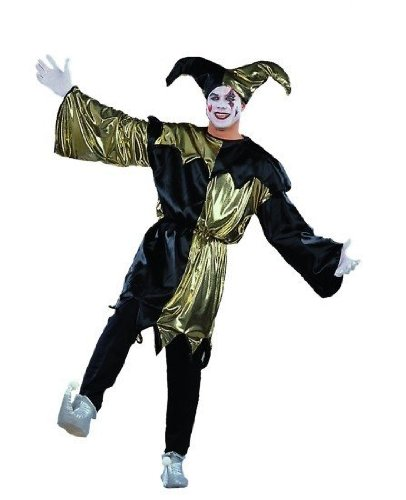 RG Costumes 80081-SBK Jolly Jester Silver Lame Costume - Size Adult Standard
