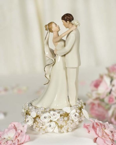 Vintage Rose Pearl Wedding Cake Topper 0