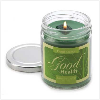 Good Karma Aloe Scented Glass Jar Good Health Candle