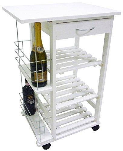 Carrello da cucina in legno bianco con porta bottiglie for Top cucina amazon