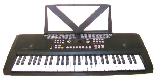 Black 54 Keys Digital Keyboard Student Electronic Piano – With notes Holder – Black – with AC Adapter & DirectlyCheap(TM) Translucent Blue Medium Pick