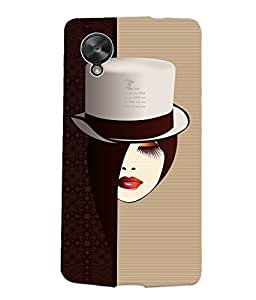 Fuson Smart Hat Girl Back Case Cover for LG GOOGLE NEXUS 5 - D4105