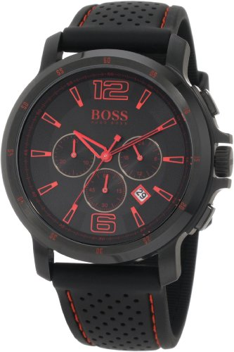 BOSS Black Watches discounts: Hugo Boss Black Collection Chronograph Black Dial Black Silicone Mens Watch 1512597