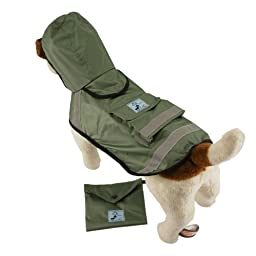 One for Pets Safety Hooded Raincoats, 16-Inch, Green