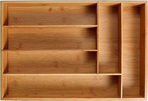 KD Organizers 6-Slot Bamboo Drawer Organizer: 17.75 x 12 x 2.5 in. Tray for Large Drawers (Draw Wood compare prices)
