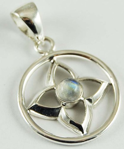 Pendant Silver Moonstone Cab Flower In Circle 25mm