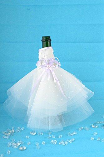 Robe pour bouteille de champagne pour mariage faite main blanche originale