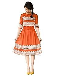 1 Stop Fashion Orange Semi Stitched Kurti