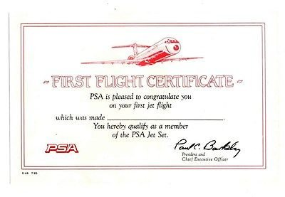 psa-first-flight-certificate-pacific-southwest-airlines-1985
