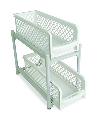 15″ Versatile 2 Tier Portable Sliding Basket Drawers.