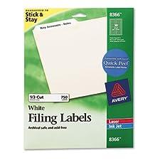 Avery-étiquettes permanentes, 1/3 de coupe, 750/PK, blanc, Vendu comme 1 Emballage AVE 8366