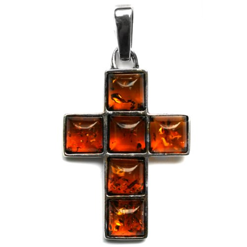 Honey Amber and Sterling Silver Cube Cross Pendant
