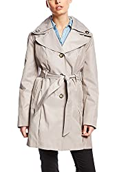 London FOG Solid Trench Coat with Belt L Driftwood