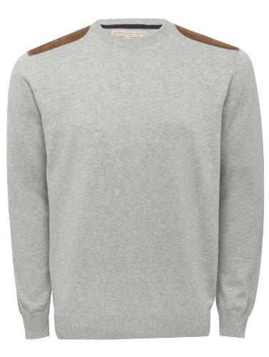 Mens Long Sleeve Lightweight Fine Knit Shoulder Patch Jumper Grey Marl M