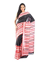 Aishee's Black, Red, Cream Colored Party Wear Silk Saree