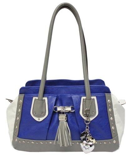 KATHY Van Zeeland Tassel Time Print Top Handle Bag,Patriot Blue,One Size