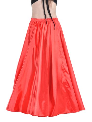 Dance Fairy Red Satin Long Skirt Hot Belly Dance Swing Satin Skirt