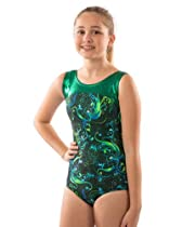 Lizatards Leotard Fantasy Floral in Green - Girls Medium (7-8)