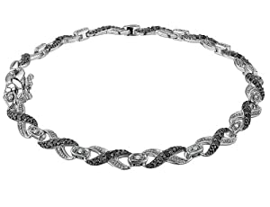 Infinity White and Black Diamond Bracelet 1/2 Carat (ctw) in Sterling Silver from MyJewelryBox