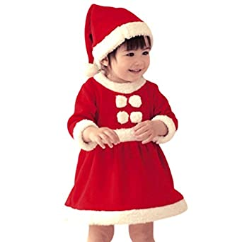 Asoidchi Baby Girls Christmas Santa Claus Dress And Hat 2-Piece Outfit