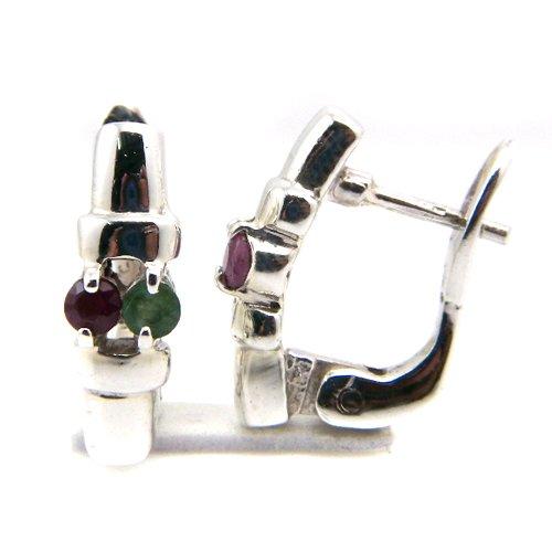 6+g Natural Ruby Emerald Gemstone Genuine 925 Sterling Silver Huggie Earring