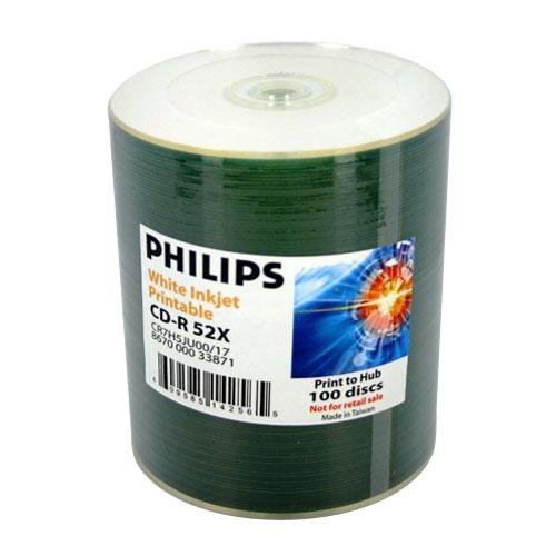 200 Philips 52X Cd-R 80Min 700Mb White Inkjet Hub