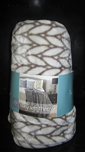 "Super Soft Silky Throw / Blanket ~ 60"" X 70"" - Grey/White Geometric"