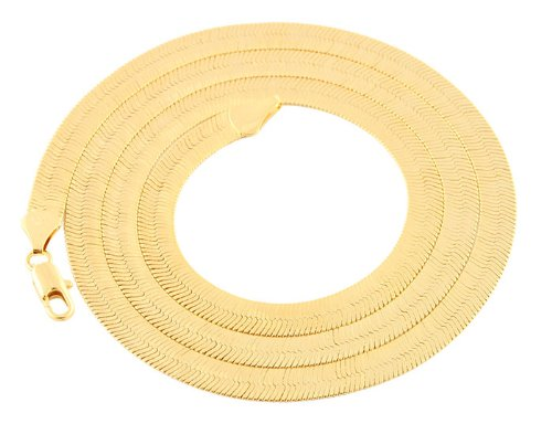 Gold 6mm 24 Inch Herringbone Chain Necklace