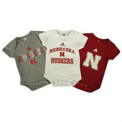 Nebraska Cornhuskers 3 Pack Adidas Infant Creepers:12 Mos back-999555