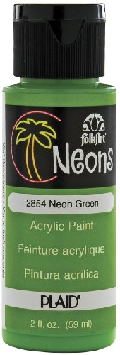 Folk Art 2854 Neon 2-Ounce Acrylic Paint, Neon Green front-769110
