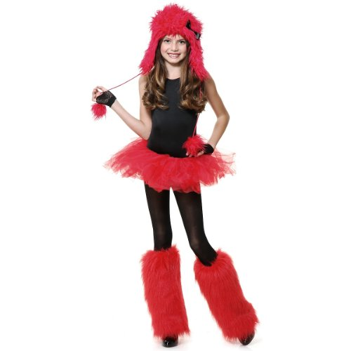 [Red Monster with Bow Set Costume Set] (Red Furry Monster Costume)