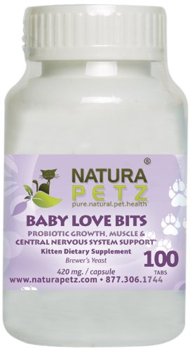 Natura Petz Baby Love Bits Probiotic Growth, Muscle And Central Nervous System Support For Kittens, 100 Tablets, 420Mg Per Tablet