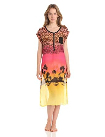 Kensie Women's  Sleepshirt, Pink Leopard Landscape, X-Small
