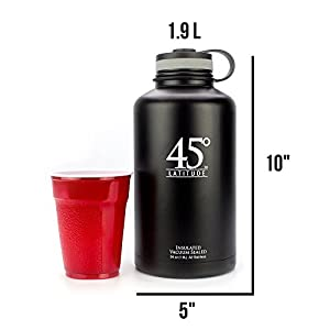 45 Degree Latitude Stainless Steel Insulated Water Bottle 64-ounce Beer Growler(Black)