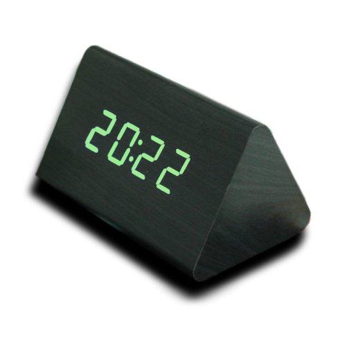 Kabb Wood Grain Led Alarm Clock - Time Temperature Date - Display Sound Activated - Brightness Adjustable (Black Coating, Blue)