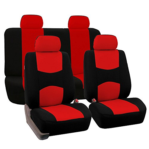 FH Group Universal Fit Full Set Flat Cloth Fabric Car Seat Cover, (Red/Black) (FH-FB050114, Fit Most Car, Truck, Suv, or Van) (Solid Red Seat Covers compare prices)